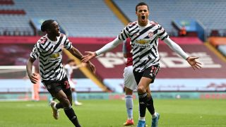 Manchester United vs. Leicester City - Mason Greenwood of Man Utd celebrates a goal against Aston Villa