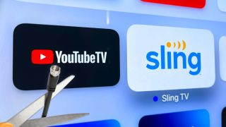 A coaxial cord being cut in front of the logos of YouTube TV and Sling TV