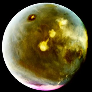 This ultraviolet view of Mars was created using images from NASA's MAVEN spacecraft taken between July 9-10, 2016 using the probe's Imaging UltraViolet Spectrograph. NASA released the images on Oct. 17, 2016.