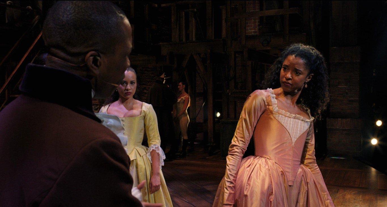 Renee Elise Goldsberry, Leslie Odom Jr, and Jasmine Cephas Jones in Hamilton