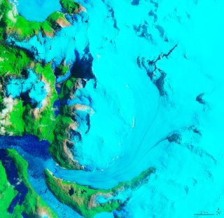 A satellite view of the Hielo Patagónico Sur 12 (HPS-12) glacier as seen on Jan. 27, 1985.