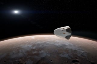 SpaceX's Dragon orbiting Mars