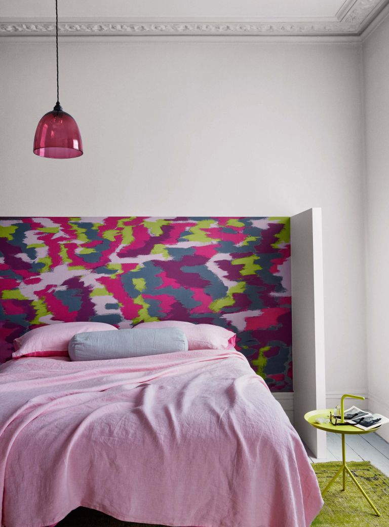 DIY headboard: patterned paint colours from Crown Paint in a bedroom