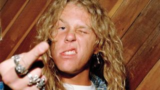 James Hetfield giving the middle finger to camera