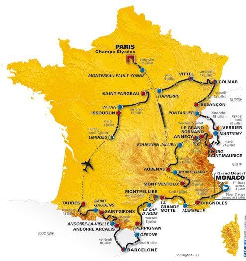 2009 Tour de France map