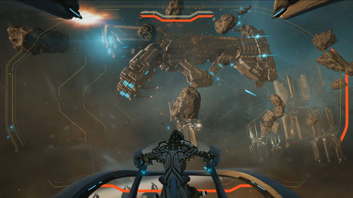 The secret to Warframe's ship-to-ship space combat is that the ship doesn't actually move