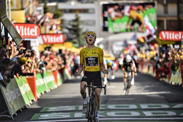 b85d76b59 Geraint Thomas takes stunning win in the yellow jersey atop Alpe d Huez to  extend Tour de France lead