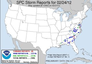 storm reports for friday Feb. 24.