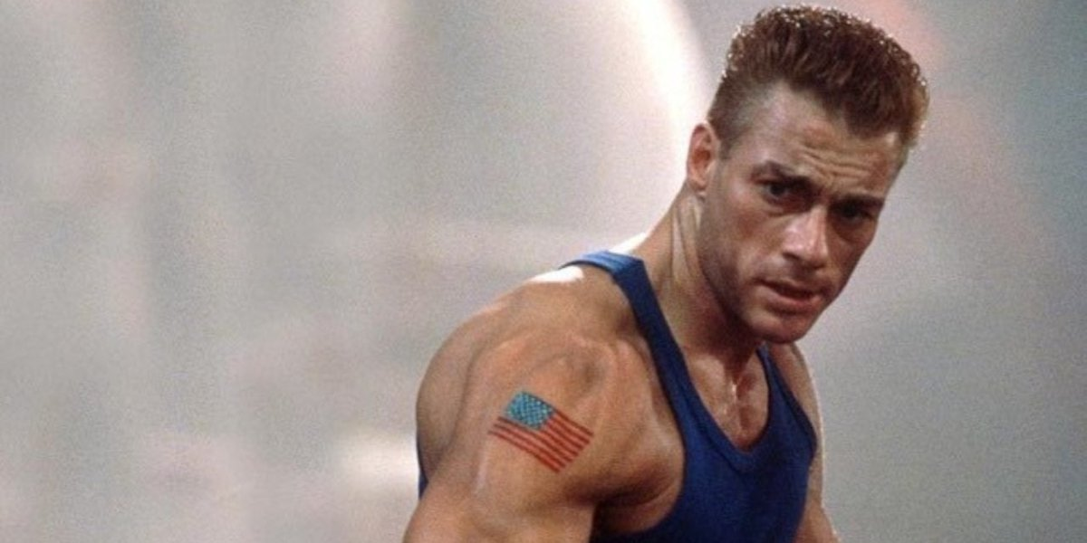Jean-Claude Van Damme poses for a fight in Street Fighter.