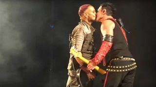 Paul Landers and Richard Kruspe kiss onstage