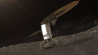 Artist's concept showing a robotic spacecraft grabbing a boulder off a near-Earth asteroid. NASA's Asteroid Redirect Mission aims to haul such a boulder to lunar orbit by 2025.