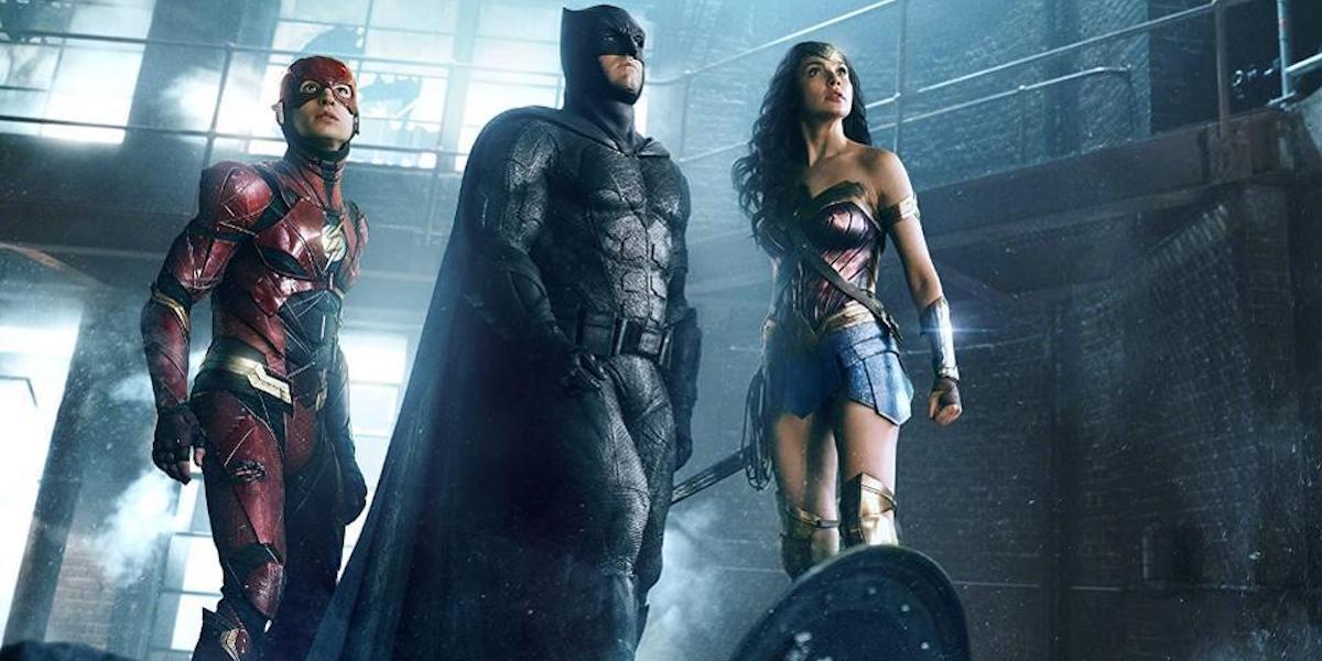Ezra Miller, Ben Affleck and Gal Gadot as Flash, Batman and Wonder Woman in Justice League