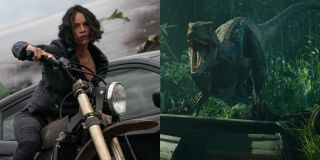 Michelle Rodriguez in F9 and Blue the velociraptor from Jurassic World: Fallen Kingdom, side by side.