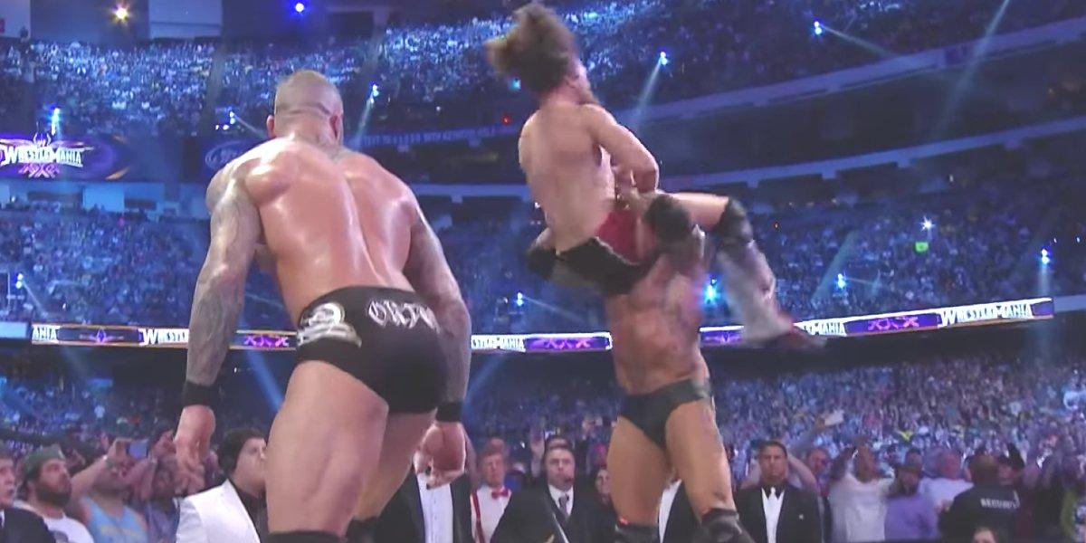 Randy Orton, Daniel Bryan, and Batista at WrestleMania 30