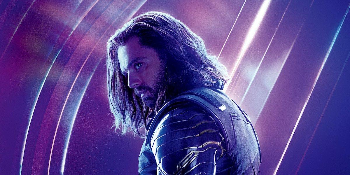 A promotional image for Avengers: Endgame shows Bucky Barnes (Sebastian Stan) standing in profile.