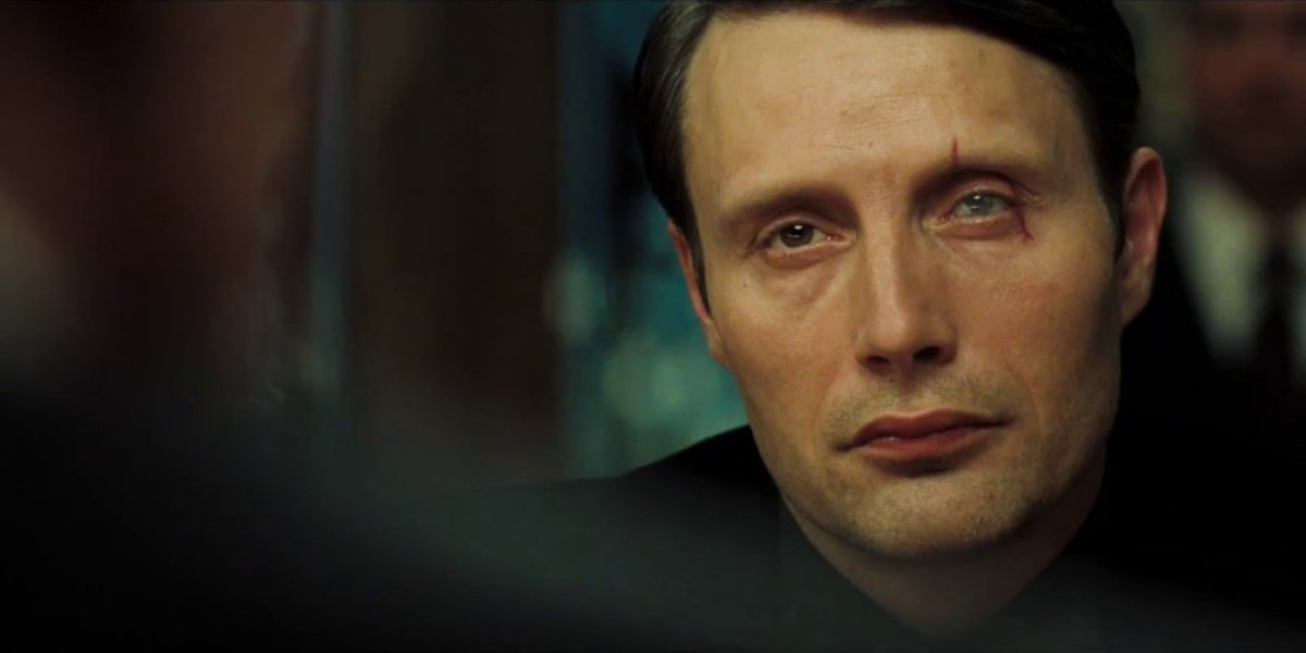 Casino Royale Mads Mikkelsen stares intently