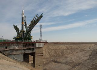 Massive Gantry Mechanisms at Soyuz Rocket Launch Pad