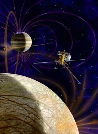 This artist's concept shows NASA's Jupiter Europa Orbiter which will carry a complement of 11 instruments to explore Europa and the Jupiter System. The spacecraft is part of the joint NASA-ESA Europa Jupiter System Mission.
