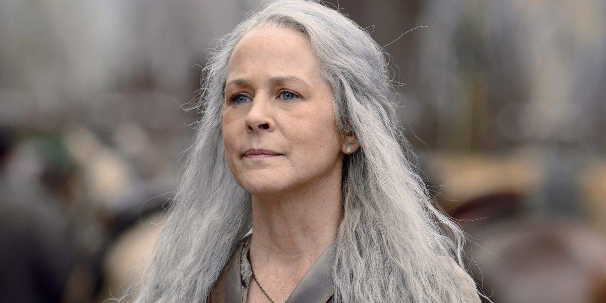 Carol with her long grey hair in The Walking Dead Season 10 AMC
