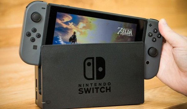 The nintendo Switch with the legend of zelda
