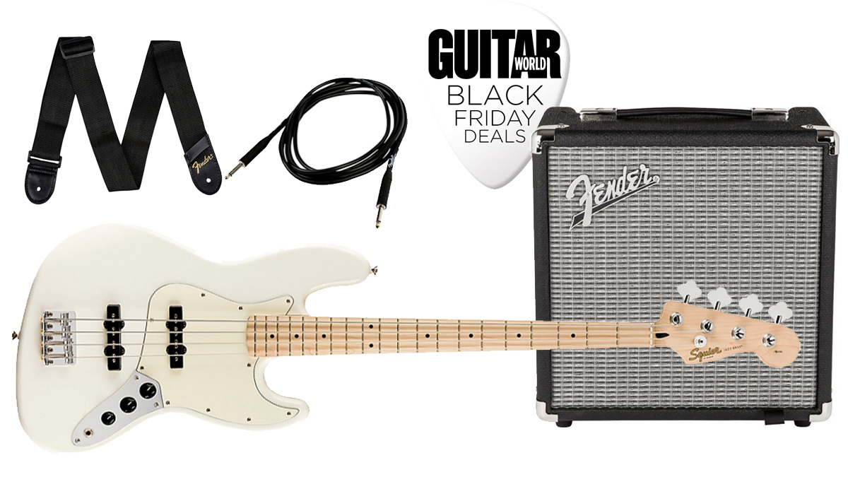 Begin your low-end journey for less this Black Friday with $100 off the Squier Affinity Jazz Bass Pack, featuring a Fender Rumble 15W Bass combo amp