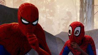 Peter B. Parker and Miles Morales in Spider-Man: Into the Spider-Verse