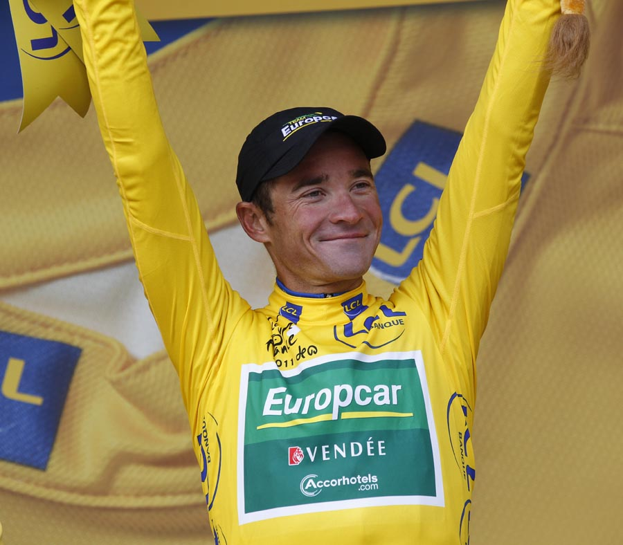 Thomas Voeckler on podium, Tour de France 2011, stage 16
