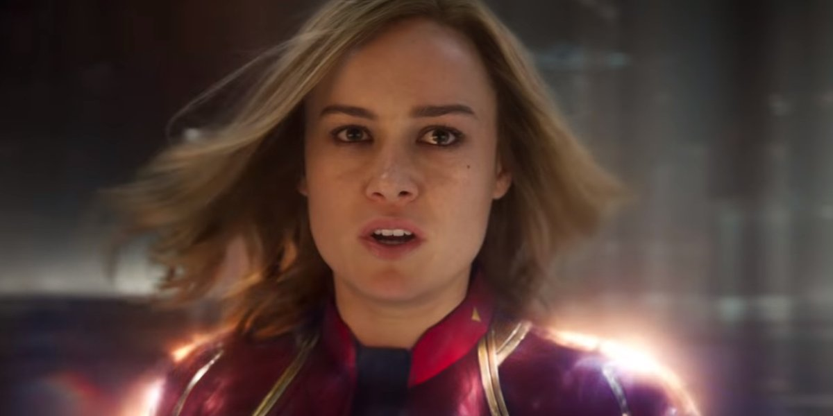 Brie Larson bears an uncertain expression as Carol Danvers in Captain Marvel