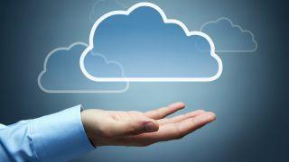 Cartoon cloud hovers over open hand.