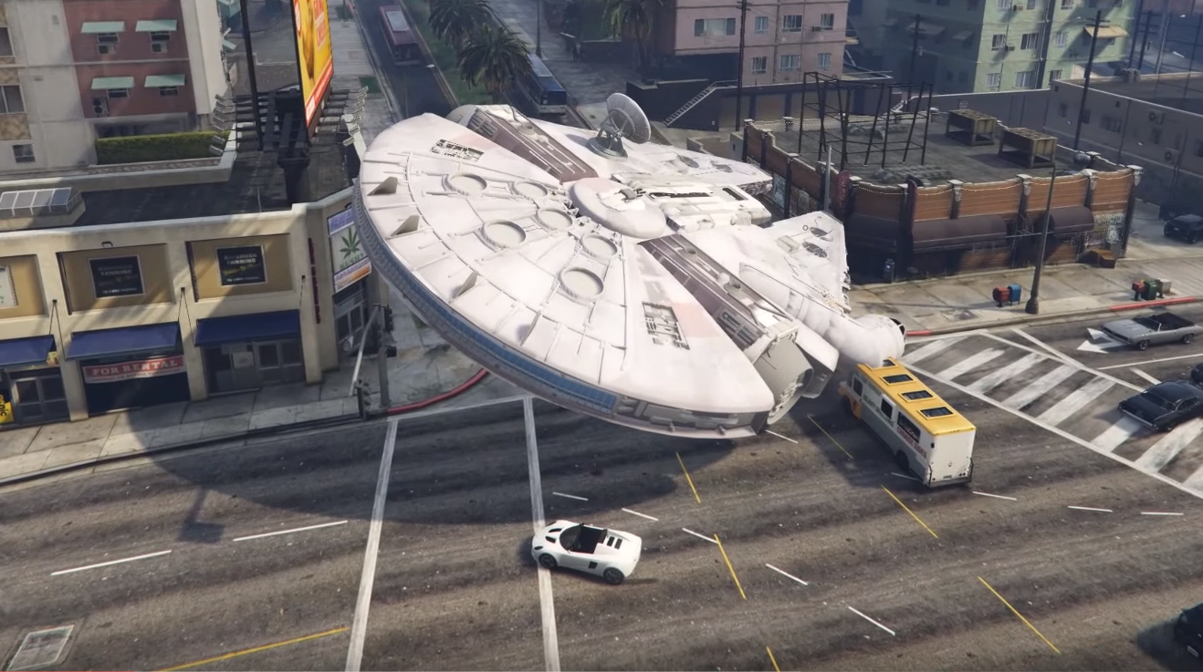 Fly around GTA 5 in the Millennium Falcon with this Star Wars mod