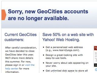 GeoCities accounts are no longer available