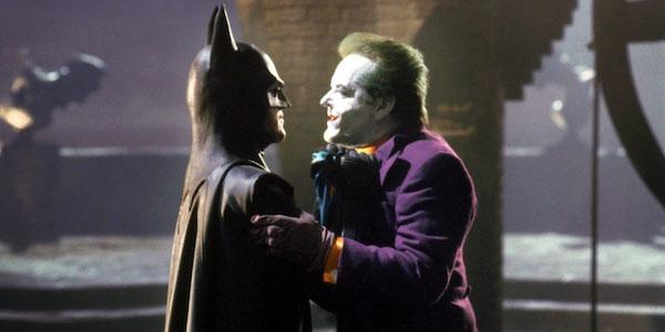 Michael Keaton's Batman grabbing Jack Nicholson's Joker