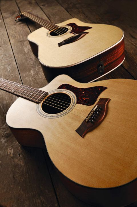 Taylor's 114ce (foreground guitar).