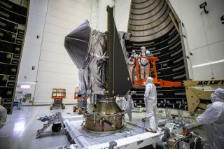 NASA's Lucy spacecraft was encapsulated into its rocket fairing on Sept. 30, 2021, in preparation for launch.