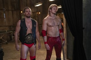 Stephen Amell and Alexander Ludwig in Heels on STARZ.