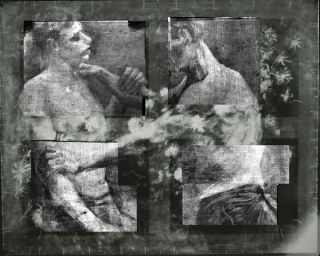 Two wrestlers shown under the image of the vase of flowers.