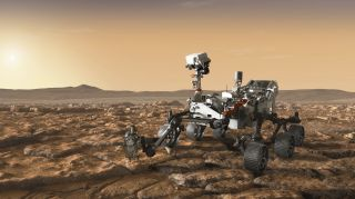 Artist's illustration of NASA's Mars 2020 rover Perseverance exploring the Red Planet.