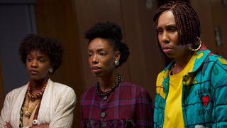 Yaani King Mondschein, Lena Waithe, and Elle Lorraine in 'Bad Hair'.