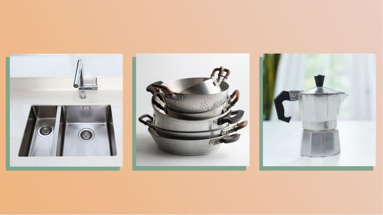 a collage image of aluminum items