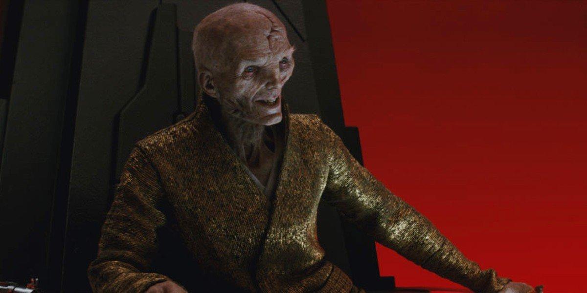 Supreme Leader Snoke grins with delight in Star Wars: The Last Jedi (2017)