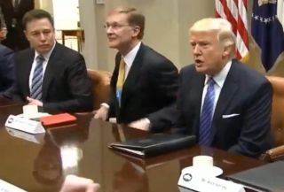 SpaceX founder and CEO Elon Musk, left, at a Jan. 23, 2017 meeting with President Donald Trump. Musk said on June 1 that he will depart the three White House advisory councils on which he serves because President Trump is pulling the United States out of