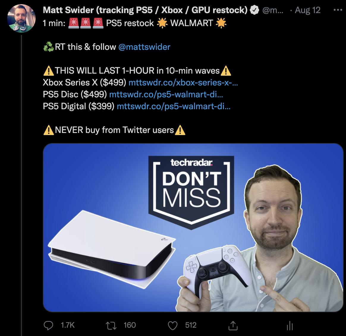 PS5 restock Twitter tracker alert for Walmart from Matt Swider