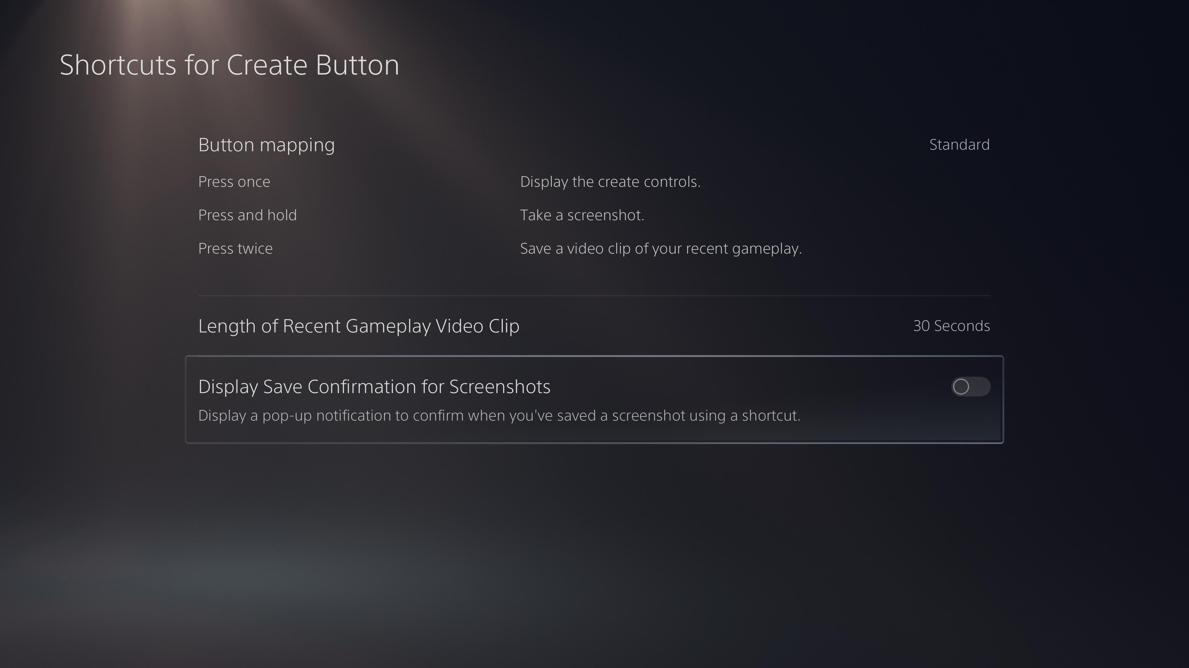 PS5 screenshot feature options