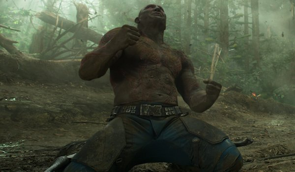 Guardians of the Galaxy Vol. 2 Dave Bautista Drax angered on his knees