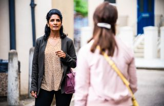 Suki Panesar is confronted by Honey Mitchell in EastEnders
