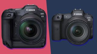 The Canon EOS R3 mirrorless camera next to the Canon EOS R5