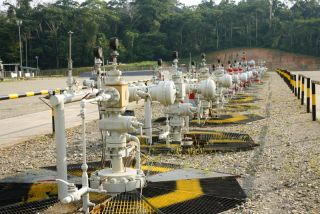 Valves on an oil well in the Amazon.