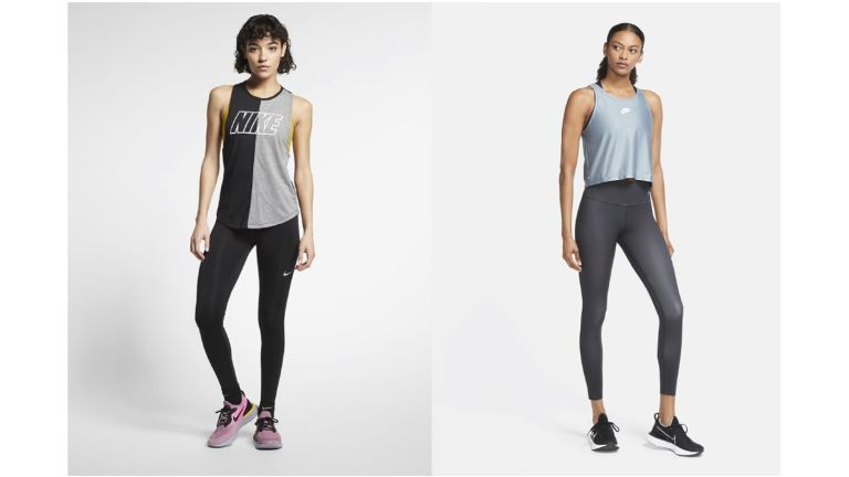 Two women wearing Nike workout clothes