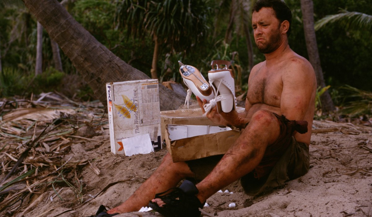 Cast Away Tom Hanks looking over the ice skates