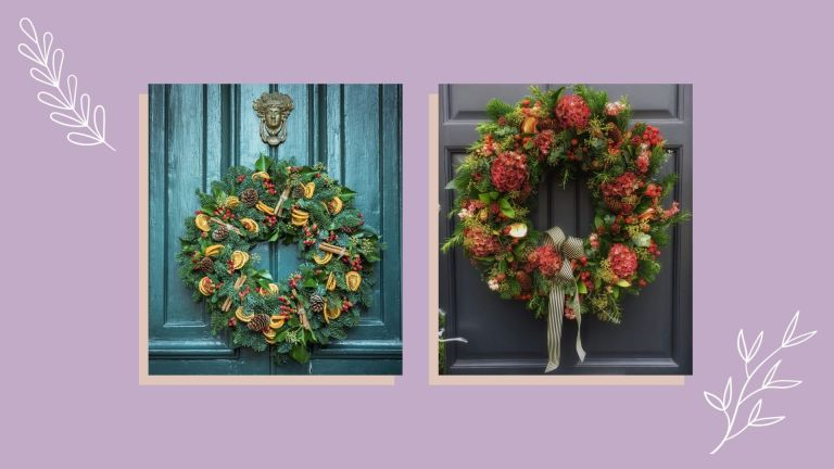 collage images of the best christmas wreaths
